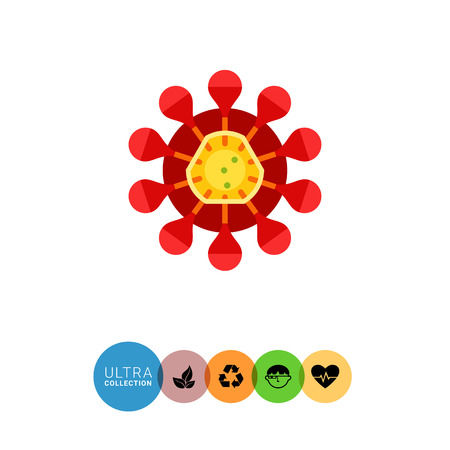 infections: Coronavirus flat icon. Multicolored illustration of virus with crown-like spikes caused respiratory infections