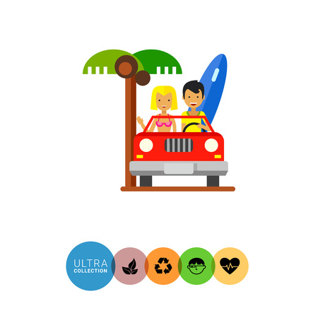 cabriolet: Couple in cabriolet icon. Multicolored vector illustration of male and female characters travelling in cabriolet