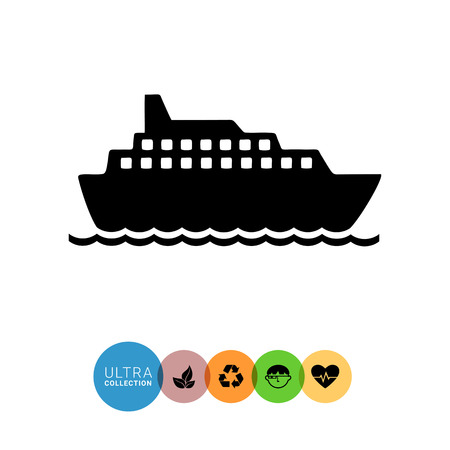cruise liner: Monochrome vector icon of big cruise liner floating on sea surface Illustration
