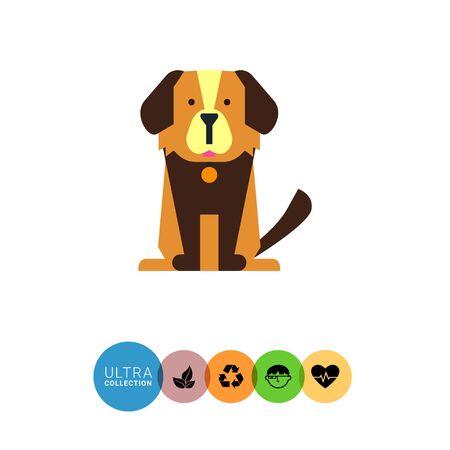 dog collar: Multicolored vector icon of cute cartoon dog with dog collar