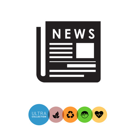 newspaper headline: Vector icon of paper newspaper with headline