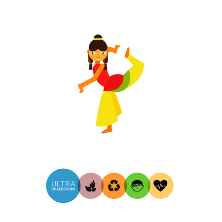 young woman legs up: Multicolored vector icon of Indian woman wearing traditional Indian costume and dancing