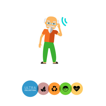 incapacitated: Multicolored flat icon of deaf old man with beard, wearing glasses Illustration