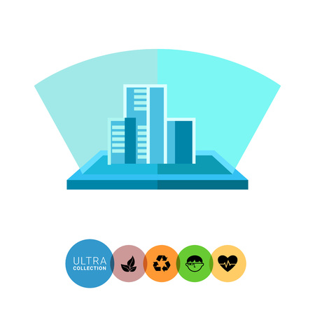 holography: Multicolored flat icon of blue hologram, three-dimensional model of buildings Illustration