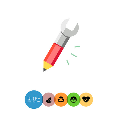tip to tip: Icon of pencil with tip and spanner on other side Illustration