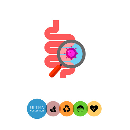 intestinal flora: Digestive tract with virus icon. Multicolored vector illustration of magnifier showing virus in human digestive system Illustration