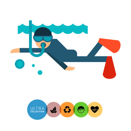 free diver: Multicolored vector icon of diver swimming under water Illustration