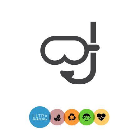 rubber tube: Diving mask icon Illustration