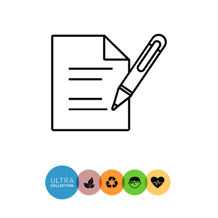 signing papers: Document with pen line icon. Vector illustration of sheet of paper with lines and pen