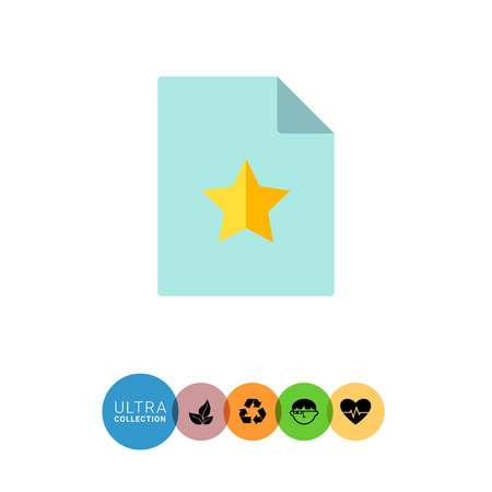 upper: Multicolored vector icon of blue blank document with folded upper corner and yellow star