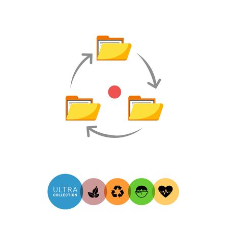 documents circulation: Icon of folders with documents arranged in circle with arrows