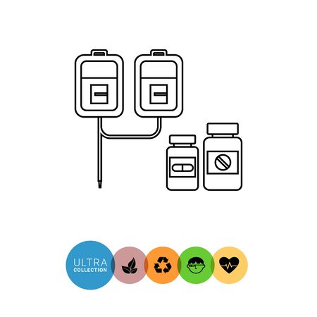 infusion: Drips and pills line icon. Vector illustration of infusion set with two drip chambers and bottles with pills
