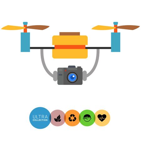 policing: Multicolored flat vector icon of aerial drone with camera