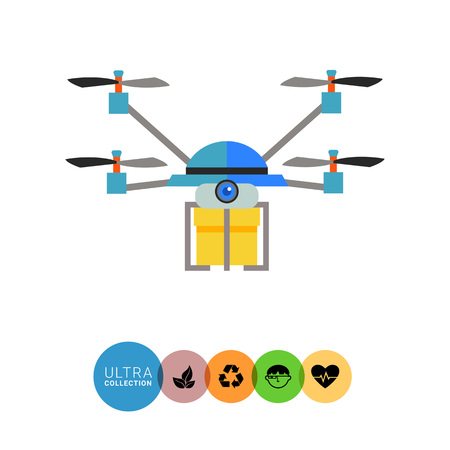 delivering: Multicolored flat icon of quadrocopter drone delivering yellow box