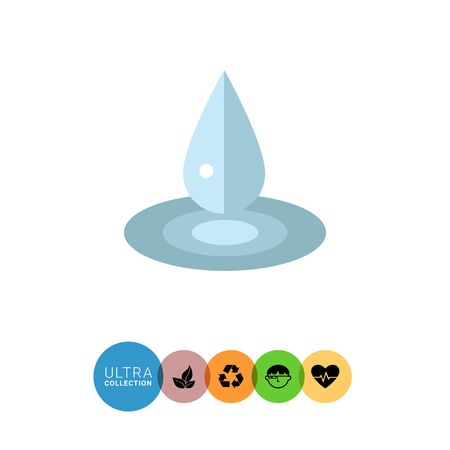 puddle: Multicolored vector icon of liquid drop and puddle