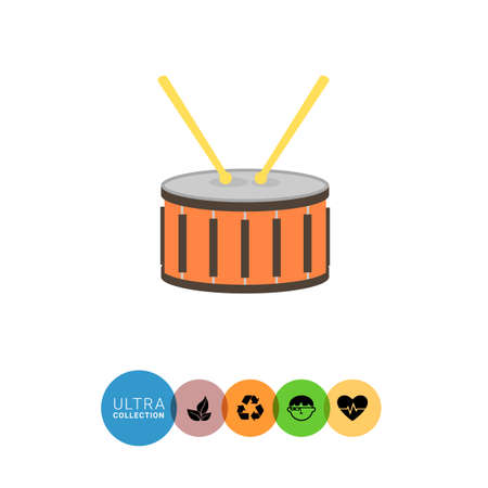drumming: Icon of drum with two drumsticks Illustration