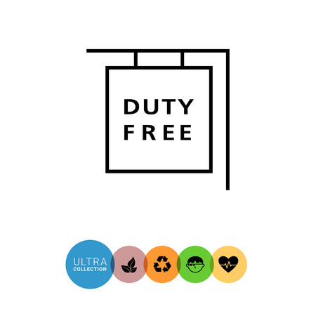 duty free: Icon of hanging duty free shop sign Illustration