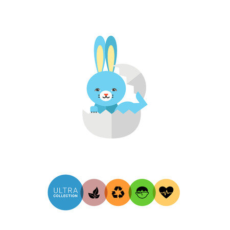 hatching: Icon of little cute blue bunny hatching off white egg