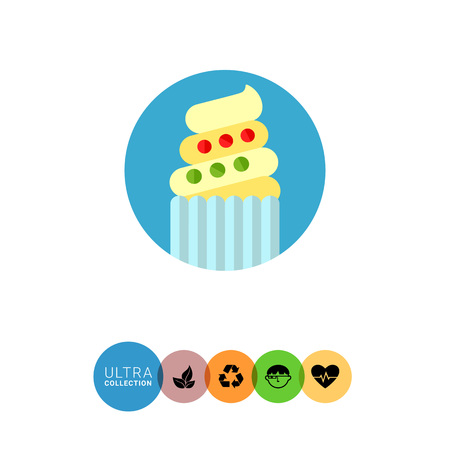 an easter cake: Icon of Easter cake with white and beige icing and multicolored decorations in blue circle Illustration
