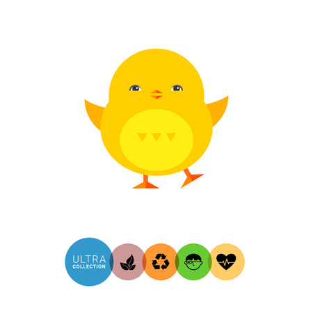 nestling birds: Icon of little cute yellow Easter baby chicken Illustration