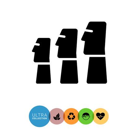 moai: Icon of Moai statues from Easter Island Illustration