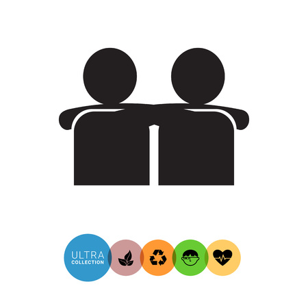 embracing: Vector icon of two men silhouettes embracing each other Illustration