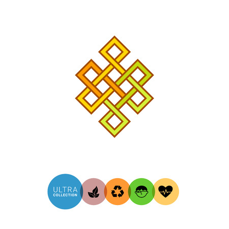 concatenation: Multicolored vector icon of Indian Endless knot