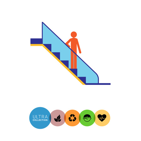 Icon of mans silhouette standing on escalator