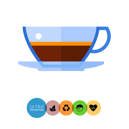 demitasse: Icon of glass cup of espresso coffee with foam and saucer Illustration