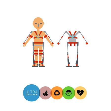 exoskeleton: Multicolored flat icon of exoskeleton man wearing exoskeleton