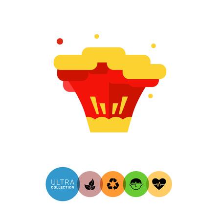 rampage: Multicolored flat icon of big bomb explosion