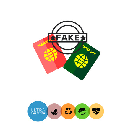 counterfeit: Multicolored flat icon of red and green passports and seal Fake