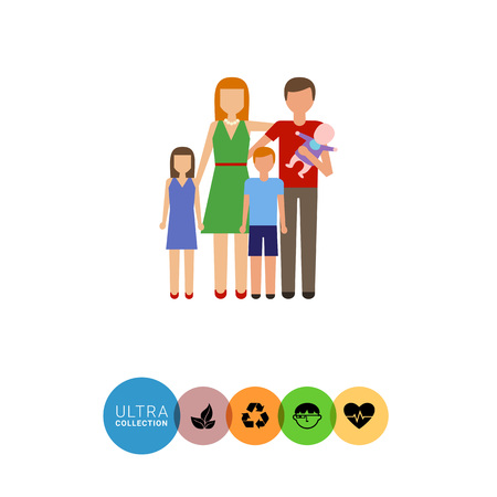 relative: Icon of traditional family consisting of man, woman and three children Illustration