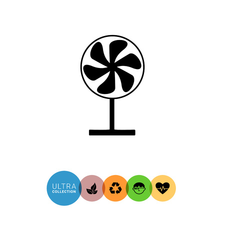 midsummer: Monochrome vector simple icon of working fan on stand Illustration