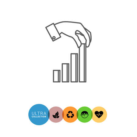 putting: Icon of man's hand putting last element of bar chart