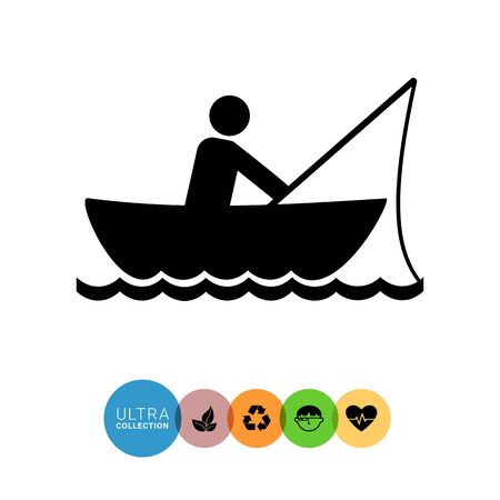 spend the summer: Monochrome vector icon of man fishing in boat Illustration