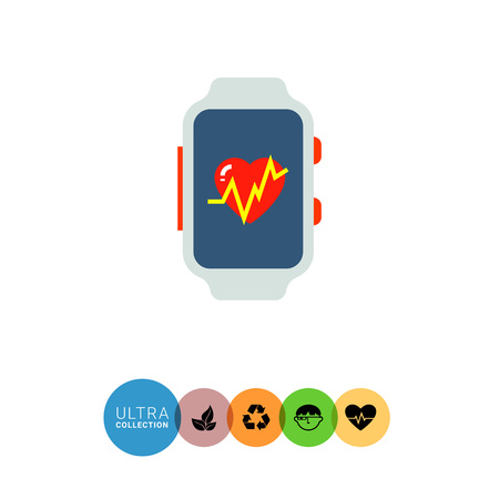 heart monitor: Multicolored flat icon of fitness tracker with heart rate monitor