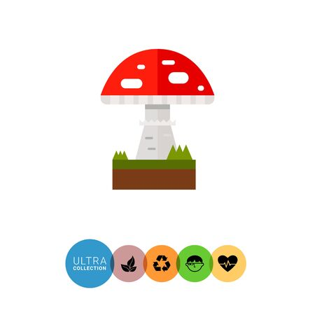 Multicolored vector icon of poisonous mushroom fly agaric