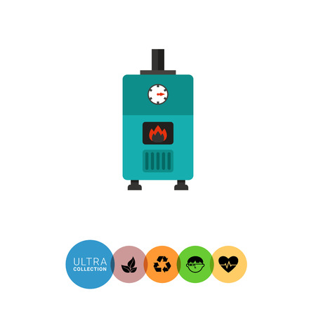 boiler: Multicolored vector icon of gas boiler with heat indicator