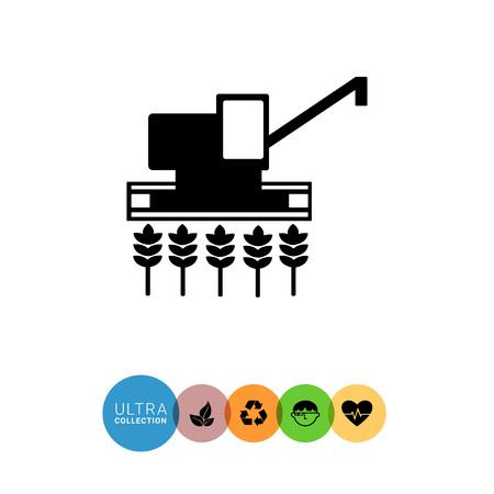 combine harvester: Monochrome vector icon of combine harvester gathering crop on field