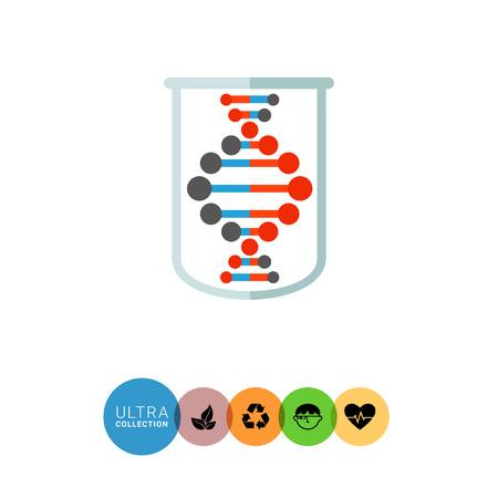 genetic material: Genome icon. Multicolored vector illustration of genome in tube