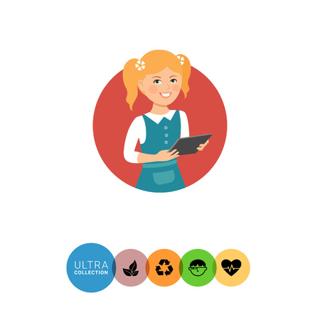 early teens: Female character, portrait of smiling girl holding tablet computer Illustration