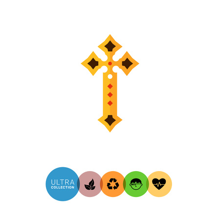 baptizing: Multicolored vector icon of golden Christian cross decorated with gemstones Illustration