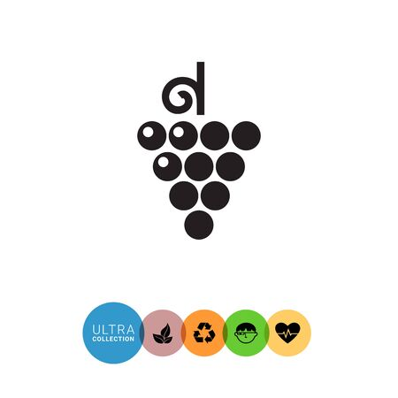 bunch: Vector icon of grape bunch on stem