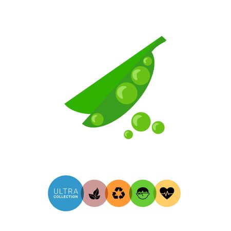peas in a pod: Icon of green peas in pea pod