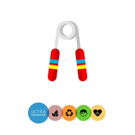 hand grip: Multicolored flat icon of Hand Grip Exerciser with red handles Illustration