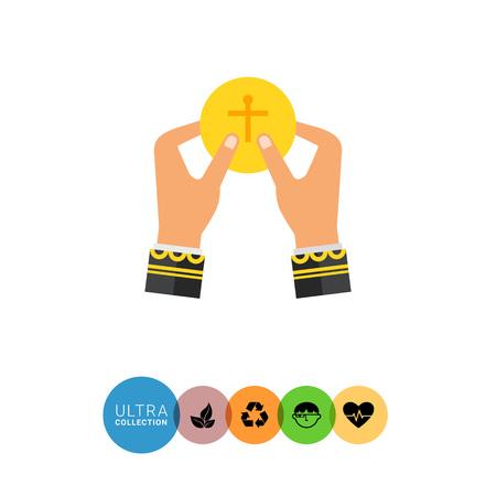 santa cena: Icono de manos cura tomando el pan santo, pieza amarilla plana de pan con la cruz cristiana en él