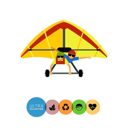 glider: Multicolored flat icon of hang glider with two male gliders