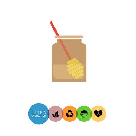 honey dipper: Icon of glass jar half-full with honey and honey dipper inside