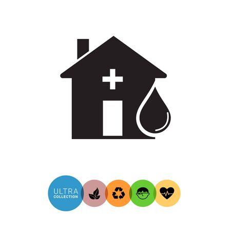 hematology: Vector icon of hospital building front and blood drop